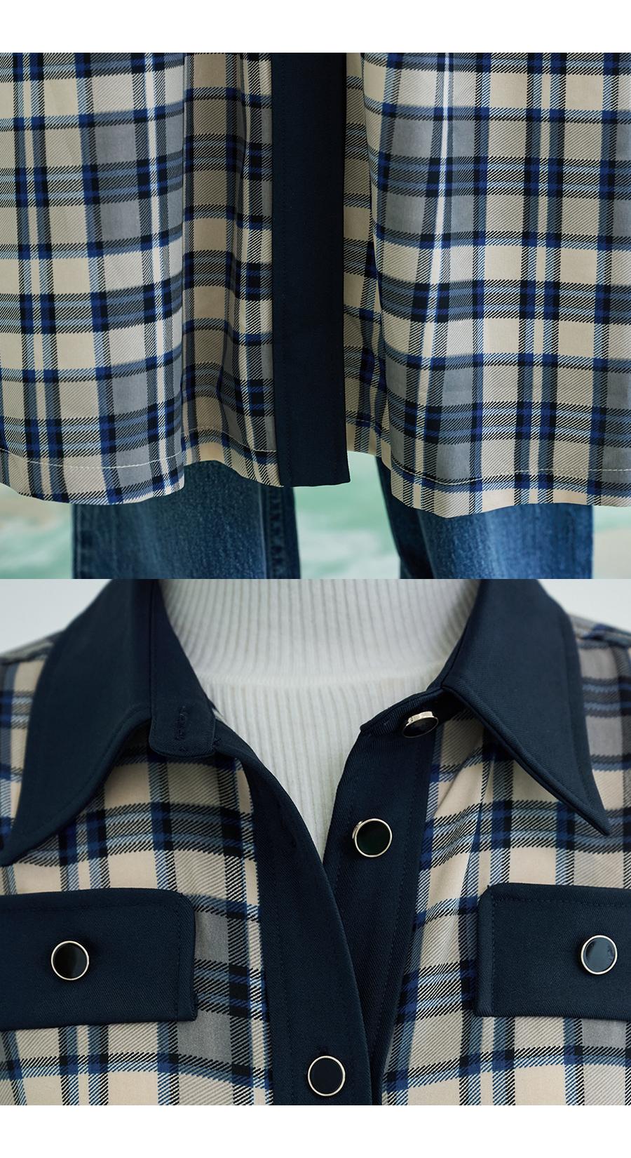 제너럴아이디어 스탠다드(GENERALIDEA STANDARD) 체크 셔츠 원피스 [BLUE] / S21W04007